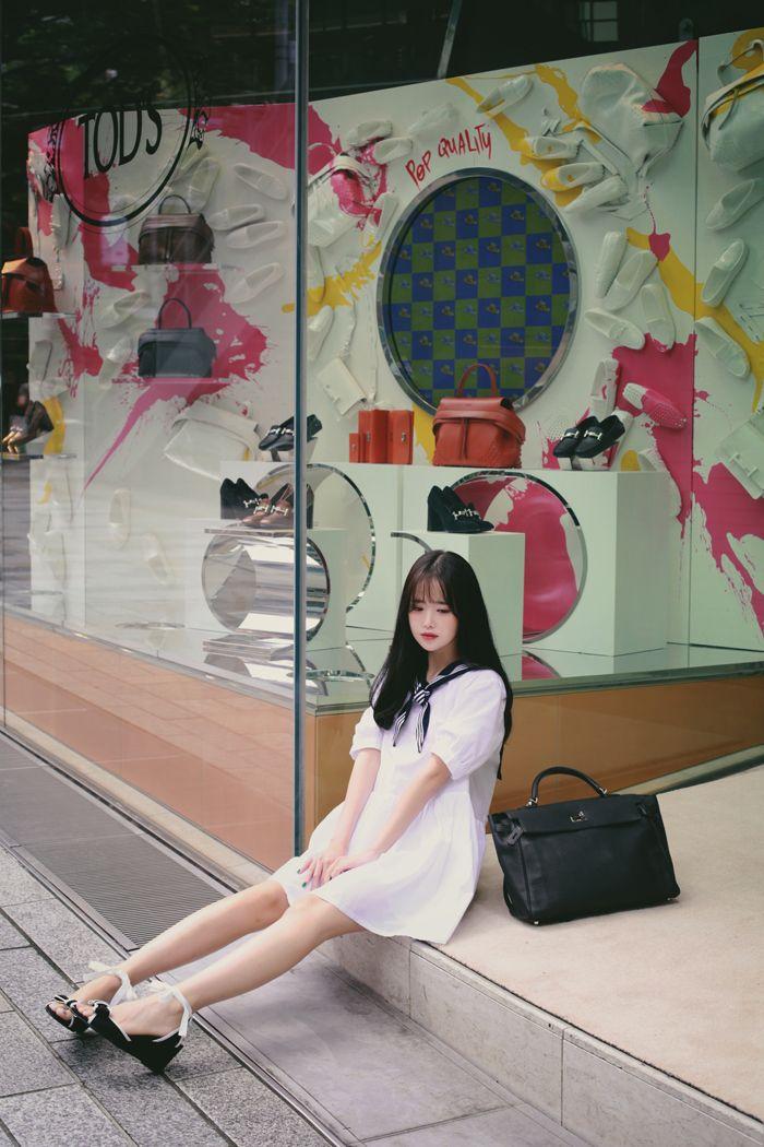milkcocoa | Girlish sailor ribbon dress
