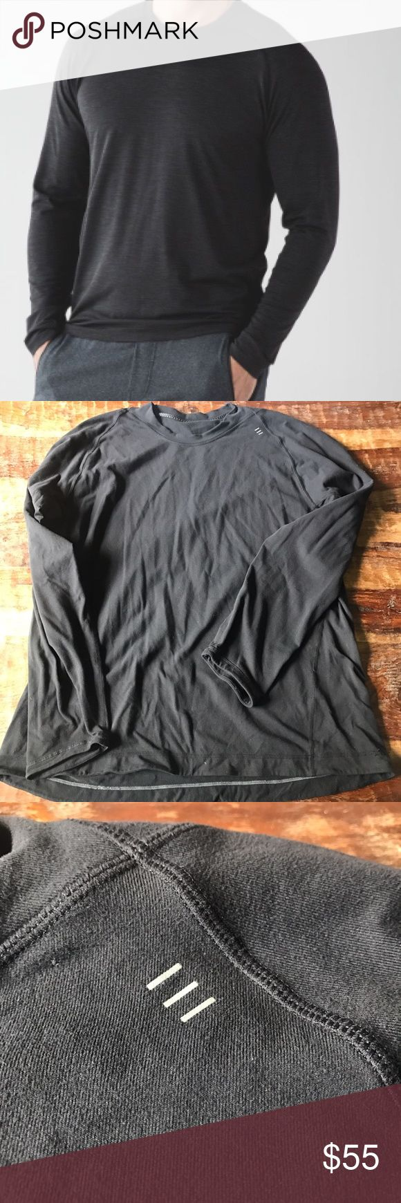 "Lululemon Side Vent Tech In excellent condition dark black long sleeve side vented top. Chest is 23.5"" across laying flat and length is 28"". The shirt is as dark as the stock photo and there is no fading. lululemon athletica Shirts Tees - Long Sleeve"
