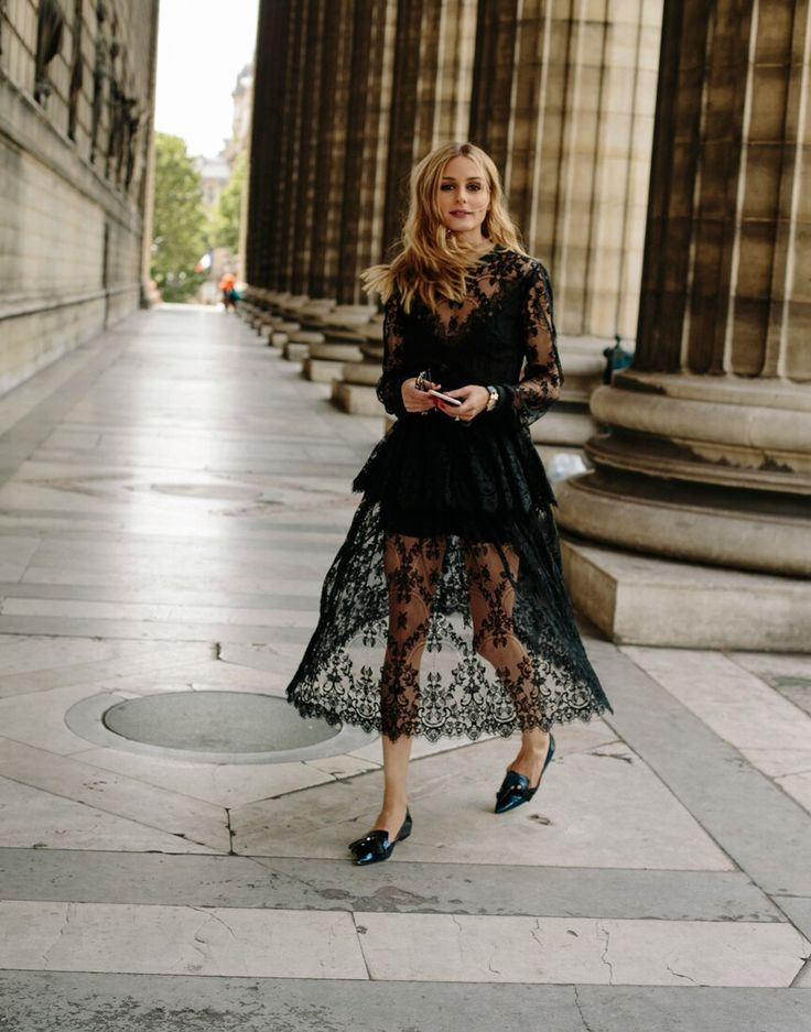 Olivia Palermo Black lace dress