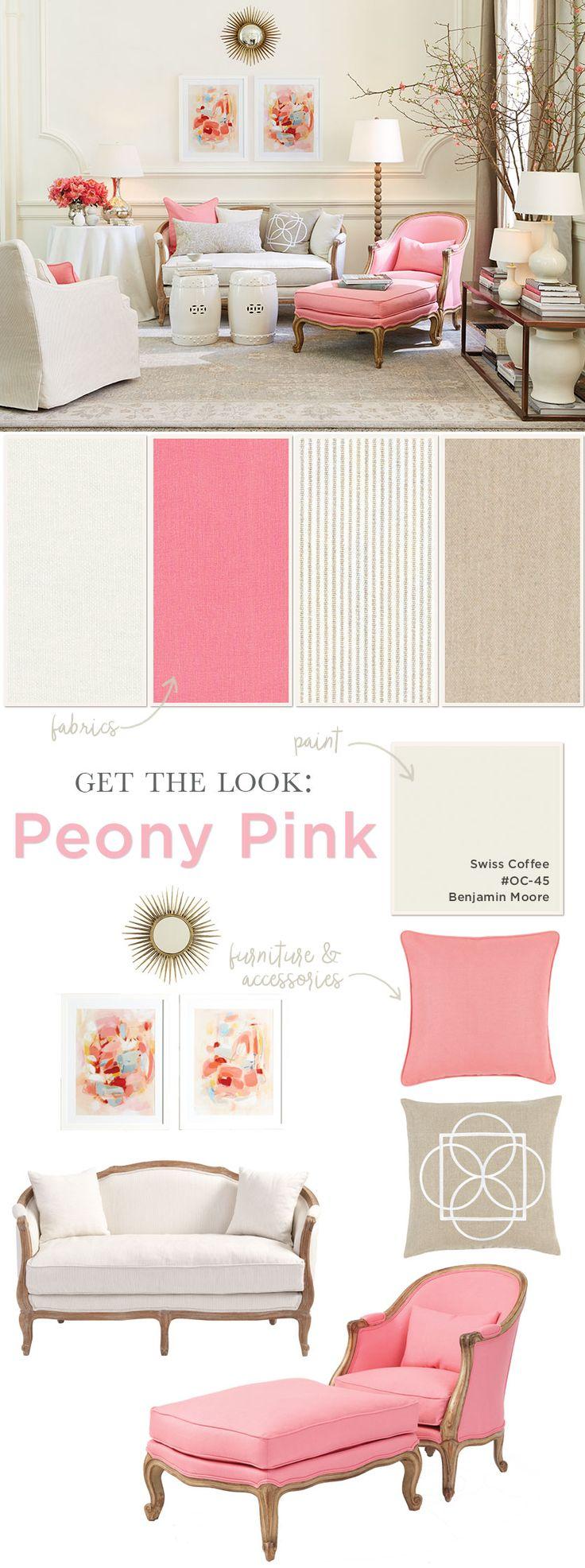 Suzanne Kasler's peony pink living room for Ballard Designs