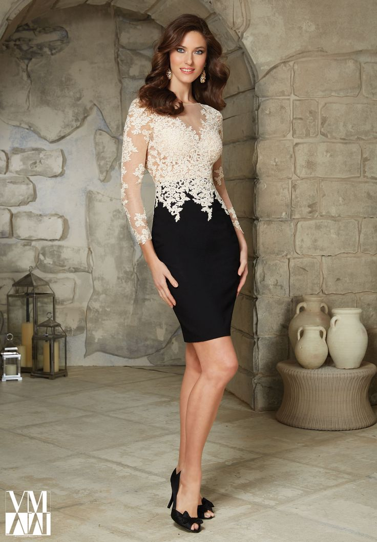 Evening Gowns and Mother of the Bride Dresses by MGNY Crepe with Contrasting Lace Appliques on Net Available in Nude/Black-Found at Bridal Isle - Loomis, NE - 308.876.2583
