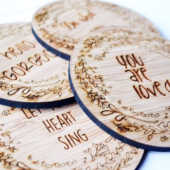 Inspirational bamboo coasters. Each with different quote by HALLO JANE | Hello Pretty. Buy design. #lovezabuyza