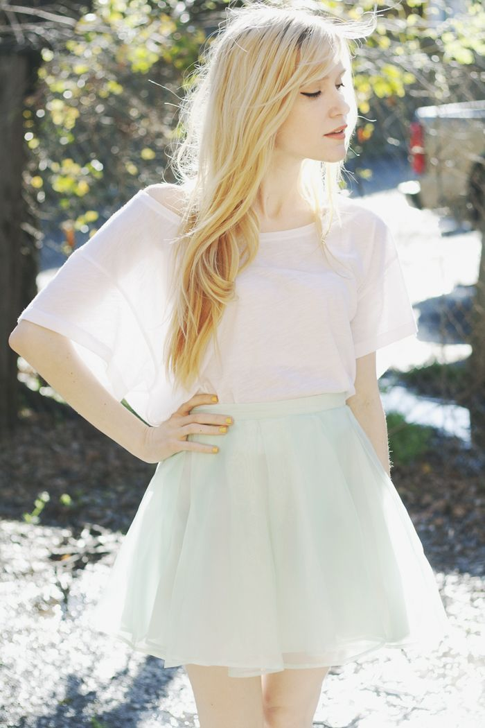 Pastel Green Mint Chiffon Tulle Skirt with White Batwing Top