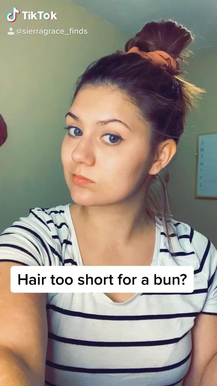 Braided High Bun For Short Hair Video Short Hair Tutorial Short Hair Ponytail Short Hair Bun