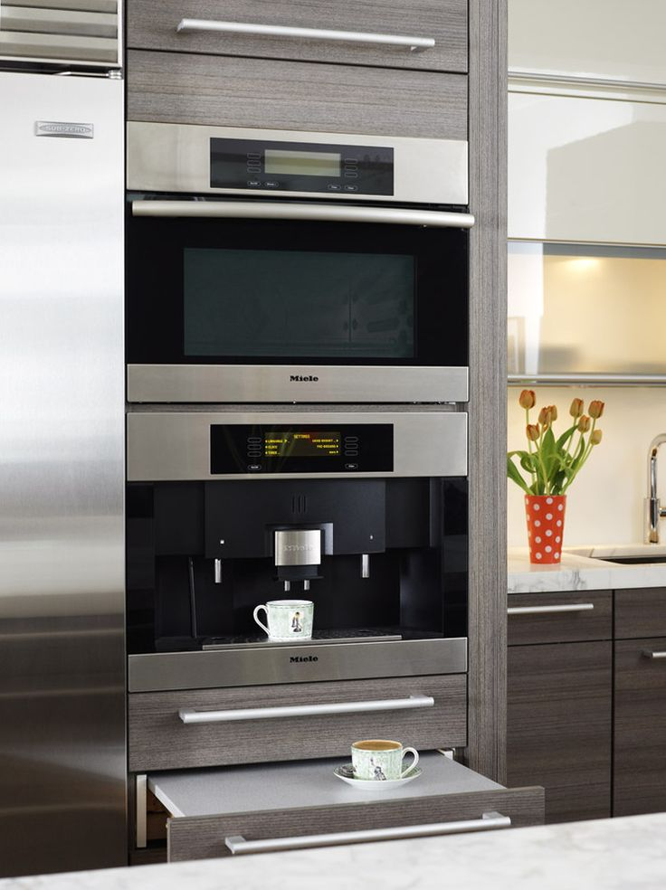 Miele in wall espresso machine built ins pinterest for Modern cabinets kitchen
