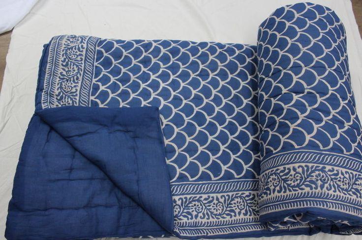 Handmade Kantha Quilt Indigo Blue Jaipuri Razai 100% Cotton Winter Queen Quilt #KhushiHandicraft #ArtDecoStyle