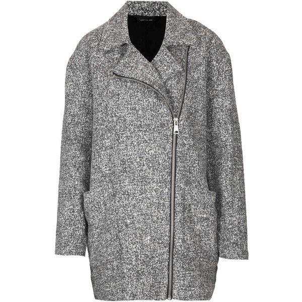 Brushed grey textured wool coat with side zip detailing 71% Polyester,24% Cotton,2% Acrylic,2% Viscose,1% Nylon. Machine washable.