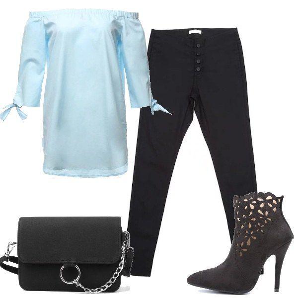 Un paio di jeans skinny neri vengono indossati con una camicia lunga off-shoulders, con fiocchetti sulle maniche. Le scarpe sono degli stivaletti, traforati con un decoro floreale e la borsa è a tracolla.