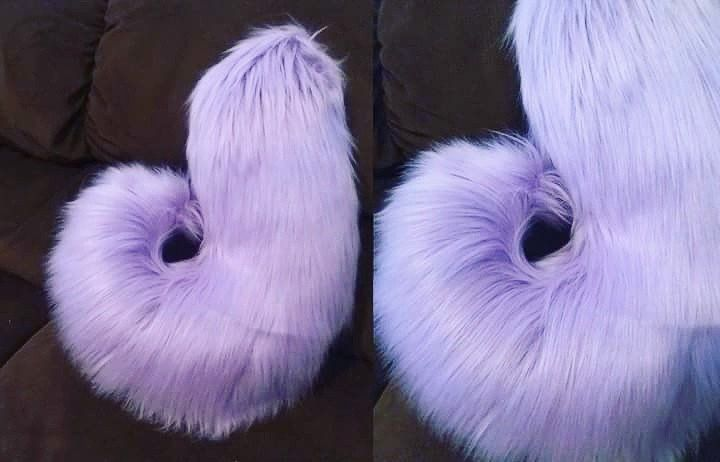 "One custom made-to-order husky tail in your choice of color(s). Husky tails are approx. 16"" long, 6"" wide. Both are worn via a sewn-in belt loop, which may not be visible in the picture. They are hand"