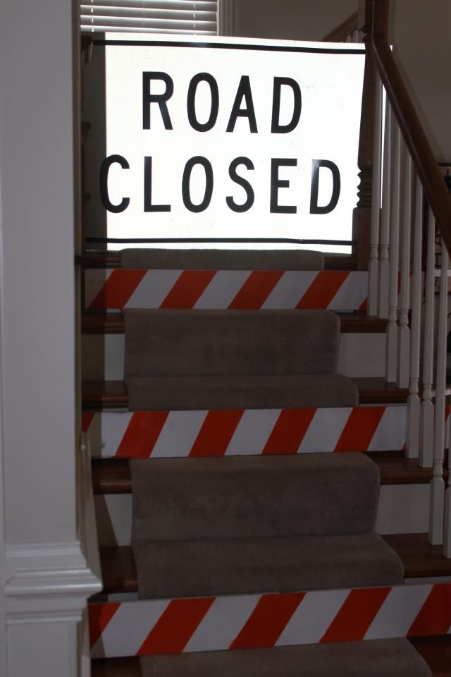Road closed! A great way to block off stairs during a construction theme party.