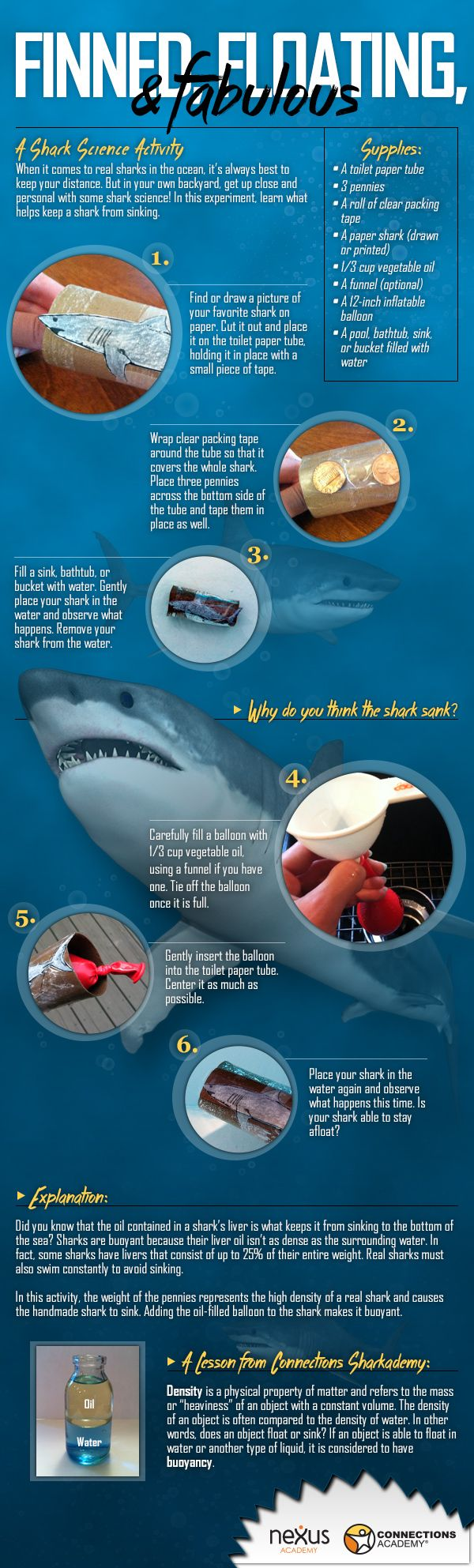 This is a great informational poster for conducting an experiment on how sharks do not sink. Students would be able to learn how and why sharks do not sink to the bottom of the ocean. This would also be a great way to introduce the importance of a sharks fins and why the shark fin industry is something that needs to be stopped immediately.