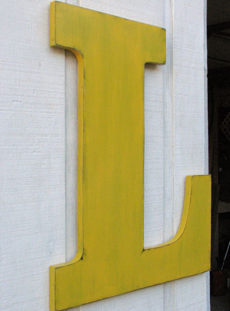 extra large wedding wooden letter l 2 feet distressed in golden yellow 24