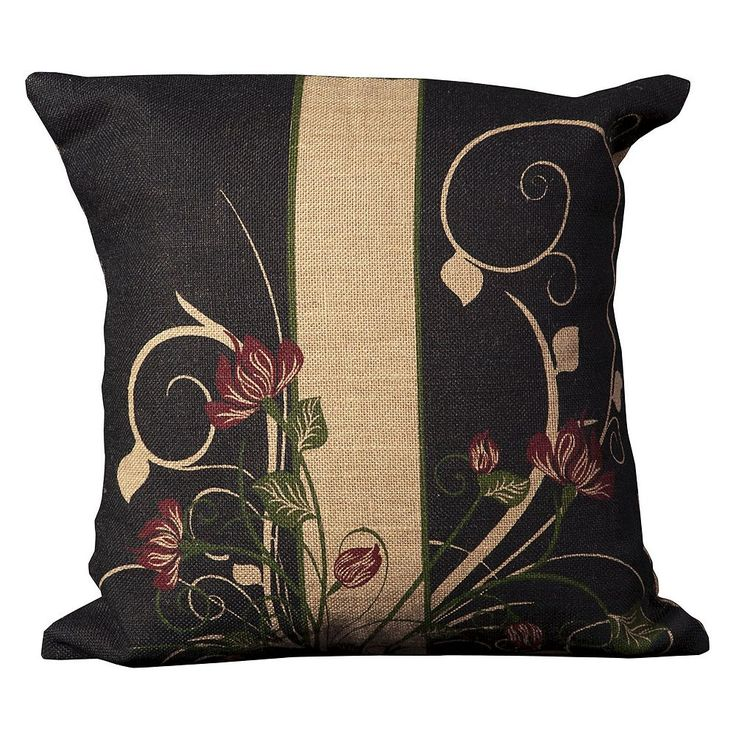 Mina Victory Lifestyles Floral Scroll Jute Throw Pillow, Natural
