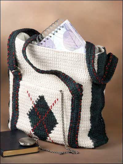 Argyle Crochet Tote Bag Pattern