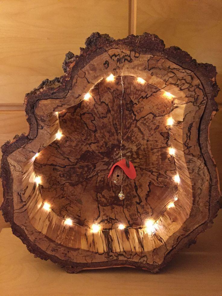 Baumscheiben Lampe mit Mini Vogelhaus Bastelanleitung für