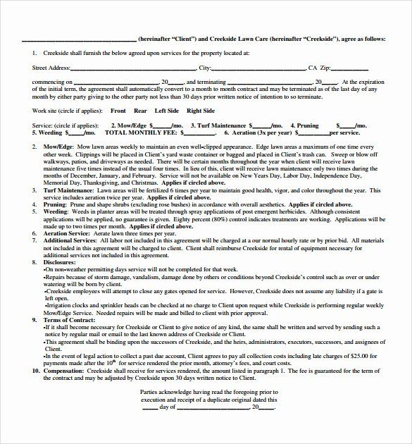 Lawn Care Contract Template In 2020 With Images Contract