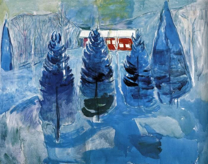 Red House and Spruces, 1927 by Edvard Munch, Late works. Expressionism. landscape. The Munch Museum