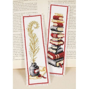 """Novel Bookmark Set  READ AND WRITE bookmark set for avid readers. Counted cross stitch kit includes 14-count white Aida cloth, cotton floss, needle, chart and instructions. Set of two, each 2 1/2"""" x 8"""". Imported from Belgium. A Stitchery exclusive!      ****   Novel Bookmark Set  Item #: T20609  Price: $18.99"""