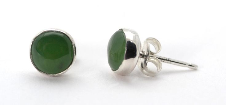 Great for St. Patrick's Day! Jade Stud Earrings in Sterling Silver.  From Abish.Essentials on Etsy.com