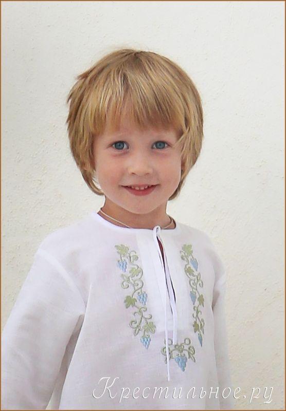 Рубашка для Крещения мальчика из умягченного отбеленного смесового льна (50% лен/ 50% хлопок) с православной вышивкой на грудке и спинке.