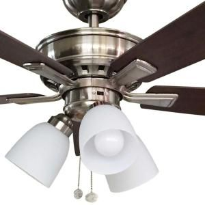 Hampton Bay Vaurgas 44 in. LED Indoor Brushed Nickel Ceiling Fan 68144 at The Home Depot - Mobile