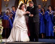 "The wedding of Molly (Melissa McCarthy) and Mike (Billy Gardell) on ""Mike & Molly"" (2012)"