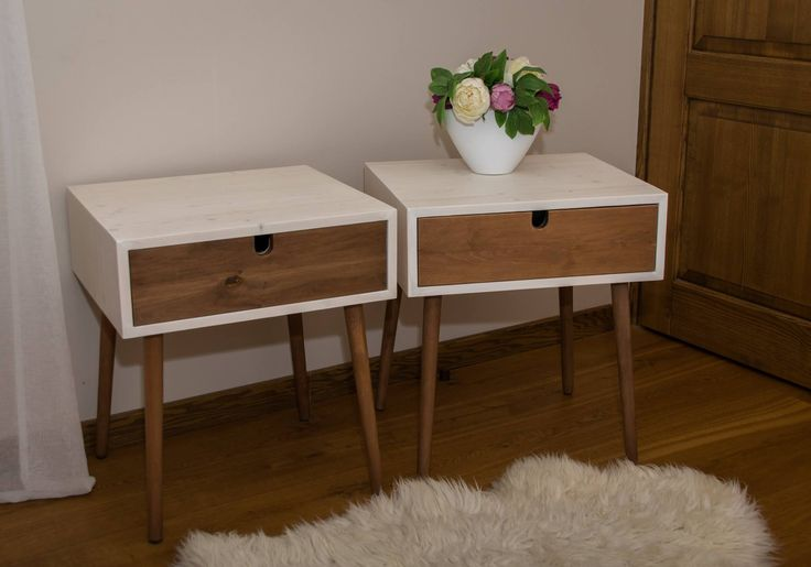 Twin wooden nighstands. Fir panel body, black alder legs and drawer front.