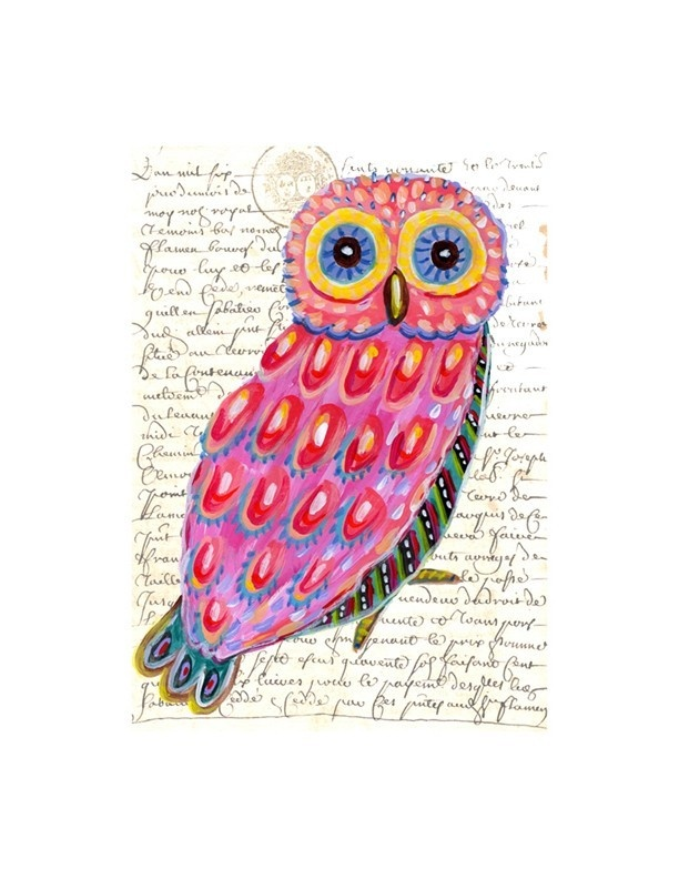 pink owl and old french manuscript writing