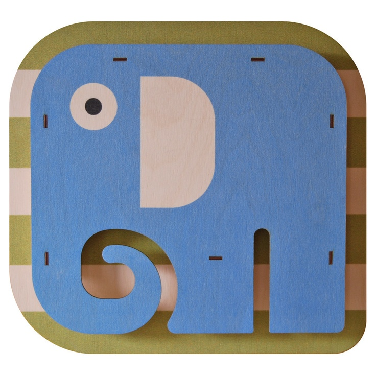 Elephant. Fun wood wall art from Paul Ocepek with a cool 3D pop out effect.