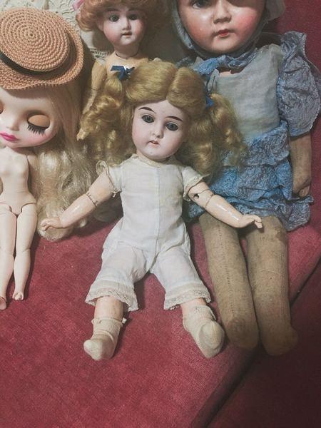 大特价 德国古董浓汤陶瓷娃娃 关节体 活眼 小尺寸 蓝眼珠 有牙齿