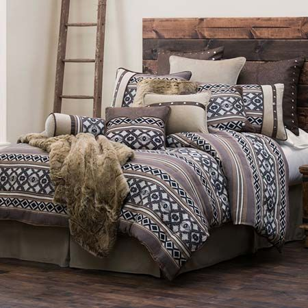 Rustic bedding, luxurious and affordable. Created in natural tones and textures, designed for a Western bedroom, lodge style bedroom, cabin or mountain style bedroom. The Tucson Western bedding set includes comforter, tailored bedskirt, 2 pillow shams (Twin size has 1 sham) and decorative neckroll. Additional accessories are available and priced separately.