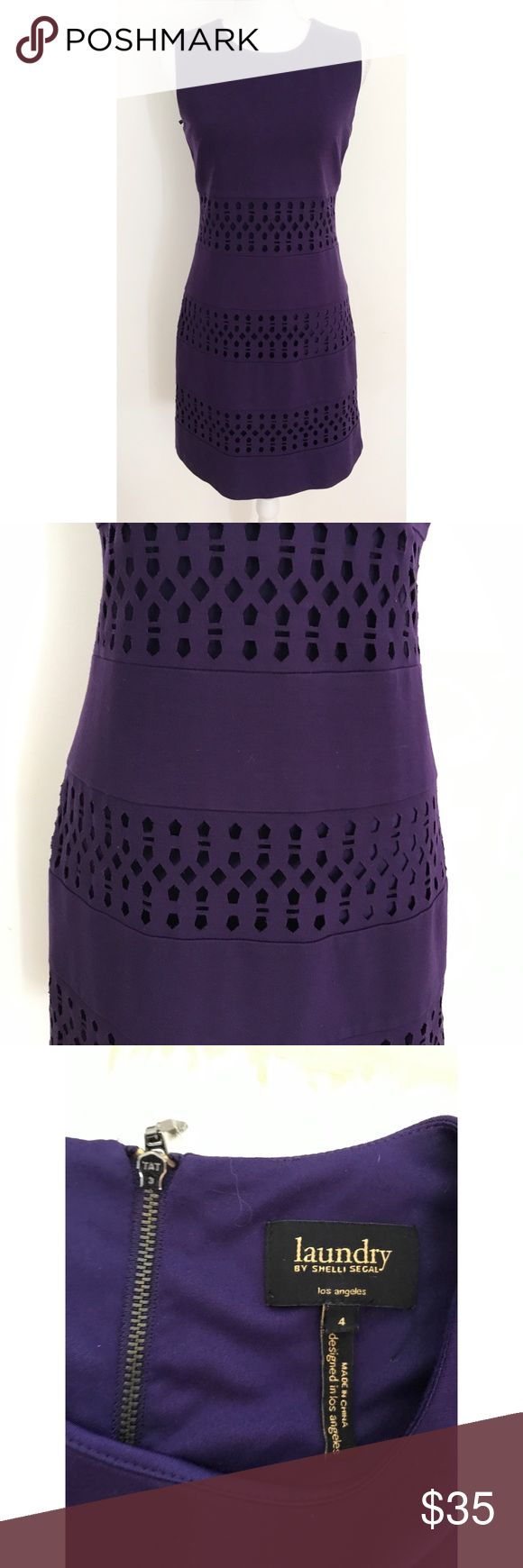 """Laundry Shelli  Segal Lattice Cut Out Panels Dress In great pre-loved condition purple Lattice Geo like shapes cut out panel dress from Laundry by Shelli Segal in size 4. Lined with exposed pull zipper in the back. No flaws. In a deep purple color. Measure about 35"""" length, 16.5"""" bust, 15"""" waist. Stretch to the dress. ❌No trades or modeling. Always open to reasonable offers. Bundle more items together for better pricing. Thank you‼️ Laundry By Shelli Segal Dresses Mini"""