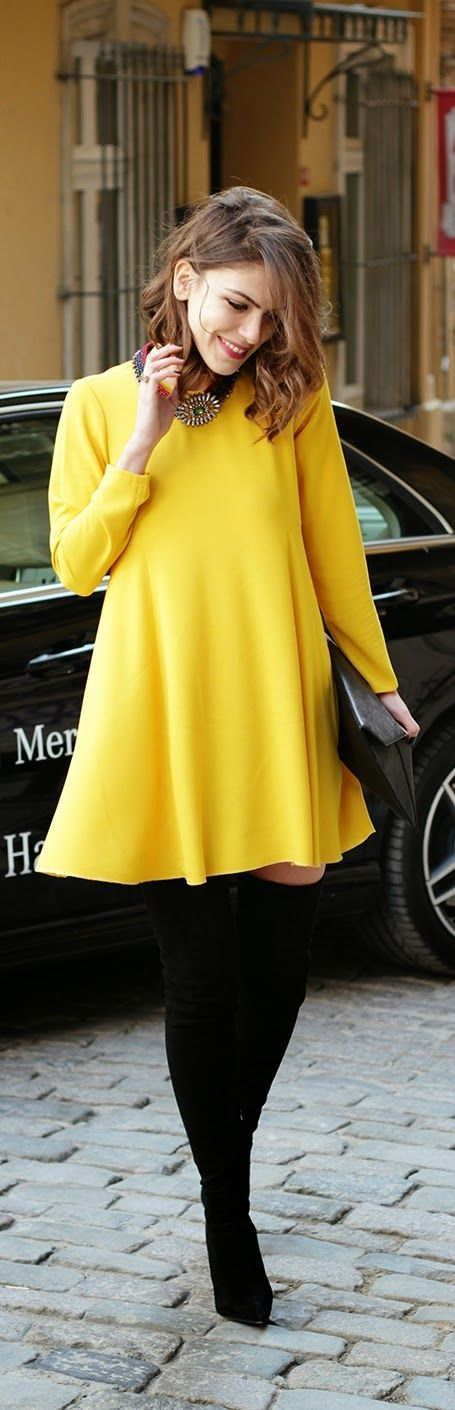 Pop Yellow Mini Dress with Over the Knee Boots | C...