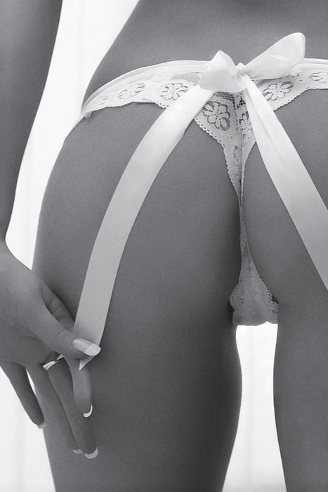 Lace and white bow panty ♥