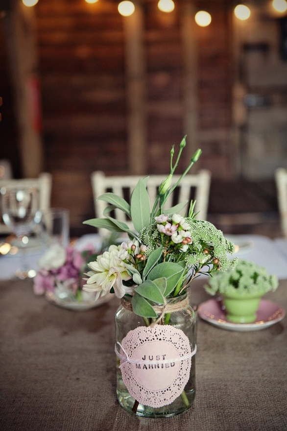 mason jar flowers with doily label...for brunch