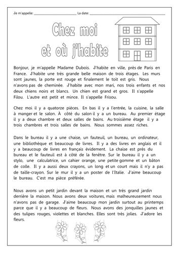 french chez moi et o j 39 habite worksheets year 10 french resources french teaching. Black Bedroom Furniture Sets. Home Design Ideas