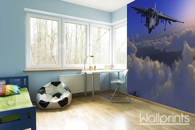 jongenskamer vliegtuig zelfklevend fotobehang