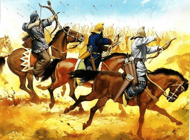 Batalla de Carras o de Carrae 53 AC. Los arqueros partos disparando contra los legionarios romanos. Autor Angus McBride