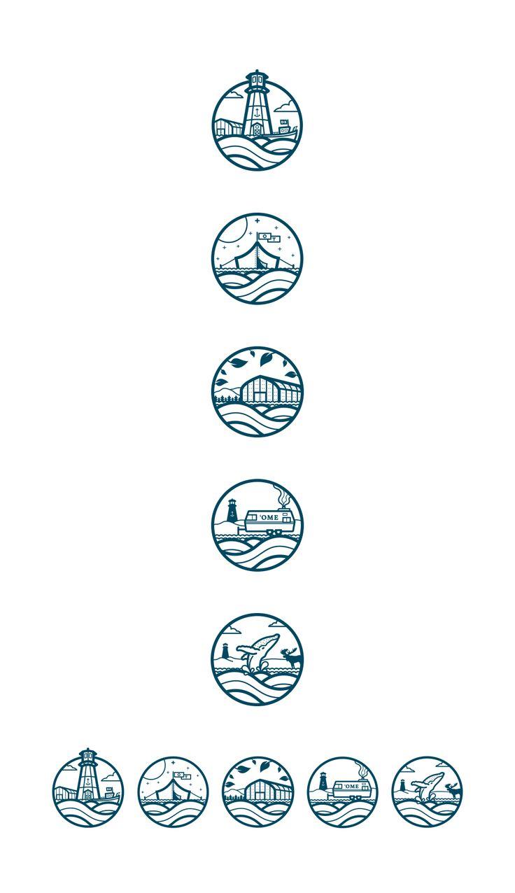 Puedes tomar la decisión de usar un elemento en común para los íconos, como las olas en este caso.