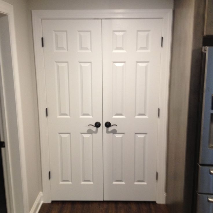 Basement Renovation, Double Hung Closet Door Wit New Bronze Hardware For A  Beautiful Finished Look!