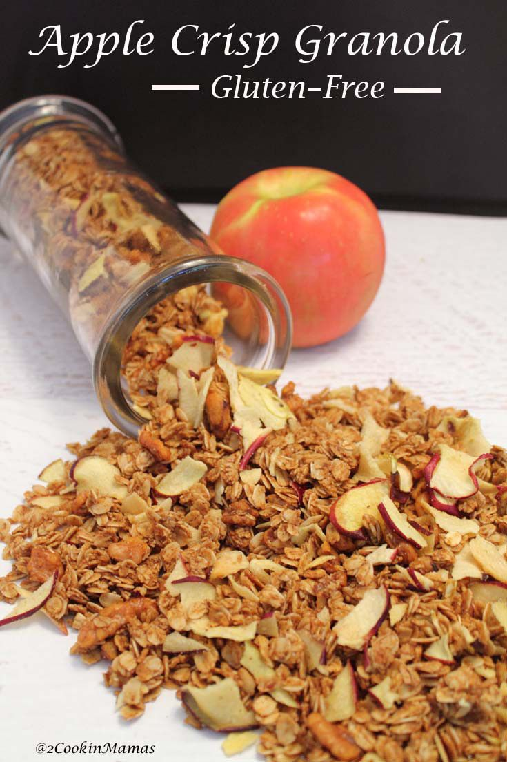 Apple Crisp Granola| 2CookinMamas - Oats flavored with cinnamon and nutmeg, sweetened with honey or molasses and crisp apple chips added make the perfect fall treat!