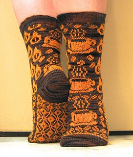 Gimme Coffee | stranded colorwork socks by Karen Aida. Pattern notes and colorwork charts are free.