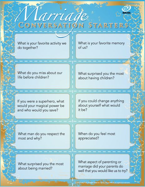 Mind you, I know NOTHING on the subject, but I thought it was interesting, none the less =) Marriage Conversation Starters.  @ first I was like, really?  you need MCS to talk to your spouse?  But, I actually like these questions : )