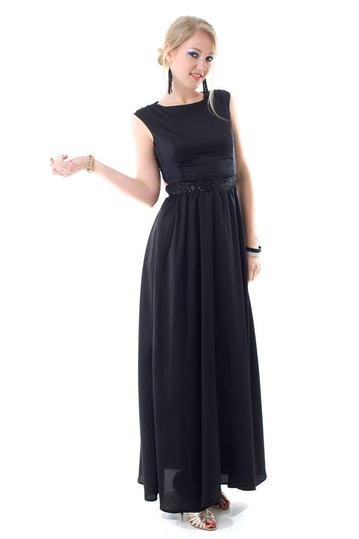 Vestido largo Amsterdam de satén semi opaco. Falda amplia. Espalda semidescubierta con cruce. Cintura de Paillettes.  Talle 1-4