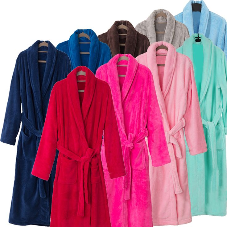 New Arrival Men Women Luxury Silk Flannel Winter Spa Bathrobe Mens Long Kimono Bath Robe Male Bathrobes Warm Night Dressing Gown #Affiliate