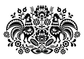 haft%3A+Polski+kwiatowy+haft+z+koguty+-+tradycyjny+wz%C3%83%C2%B3r+folk+Ilustracja