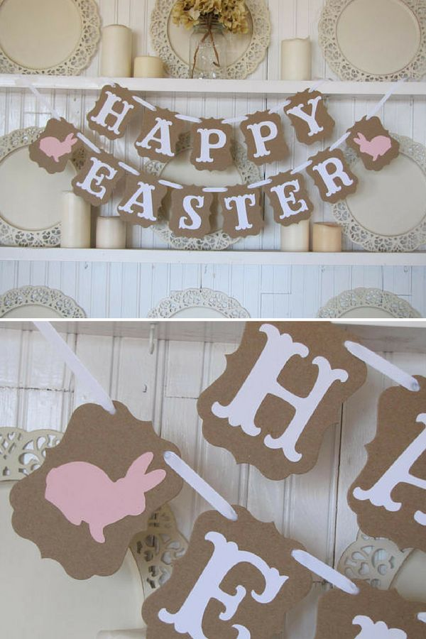 I love this cute Easter garland. HAPPY EASTER is made with thick, strong, tan colored chipboard. White letters are affixed on top and white ribbon is strung through. Two pink bunnies are either end of the lower banner. The perfect Spring decor to our home. #ad #easter #decoration #garland #banner #bunny #happyeaster #homedecor