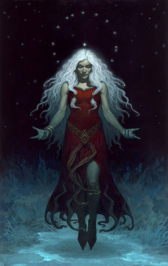 """Perchta or Berchta was once known as a goddess in Southern Germanic paganism in the Alpine countries.    Her name means """"the bright one"""".     Perchta was at first a benevolent spirit. In Germanic paganism, Perchta had the rank of a minor deity. That changed to an enchanted creature (spirit or elf) in Old High German - such as Grimm describes - but she was given a more malevolent character (sorceress or witch) in later ages."""