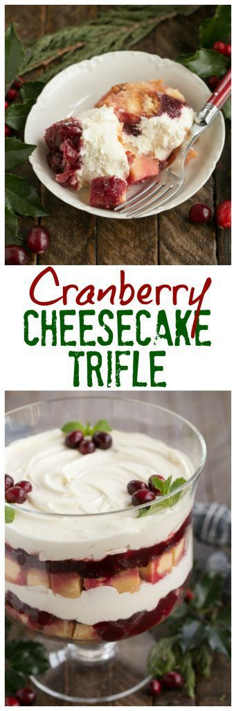 Cranberry Cheesecake Trifle | Festive, seasonal and a delicious twist on the classic English trifle ~ That Skinny Chick Can Bake