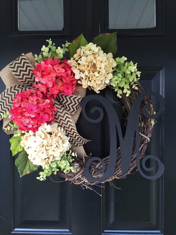 Pink And Cream Hydrangea Wreath